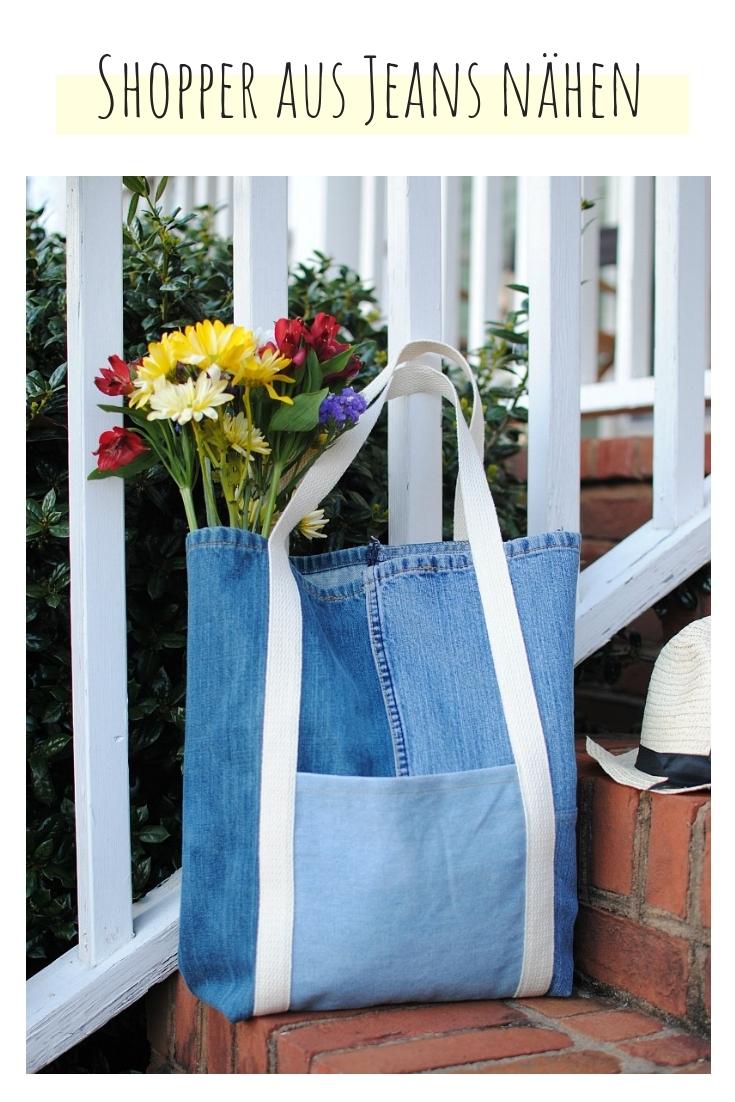 Shopper Tasche aus Jeans upcycling idee ideen nähen nähideen nachhaltig diy jeanshose alt mach neu pimpen refashion was kann man aus alten jeans machen
