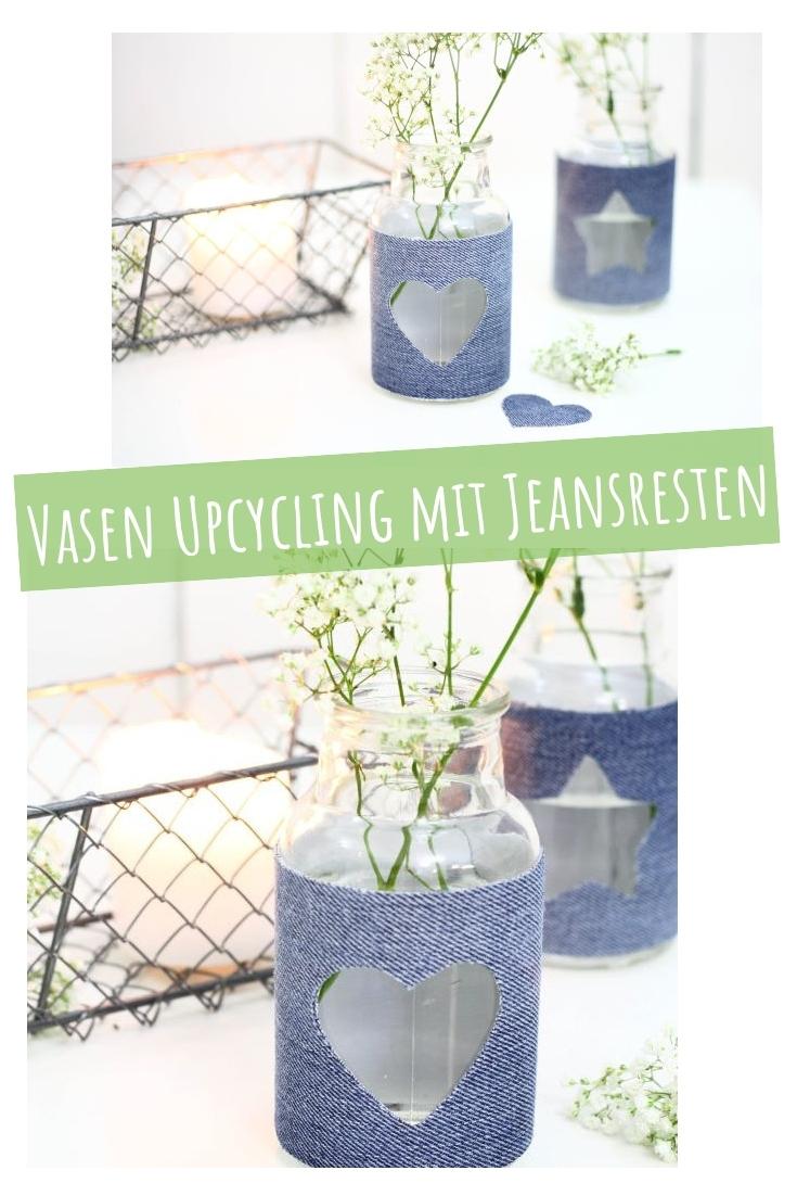 Vasen mit Jeansstoff Stoffresten basteln upcycling idee ideen Geschenkidee nähen nähideen nachhaltig diy jeanshose alt mach neu pimpen refashion was kann man aus alten jeans machen