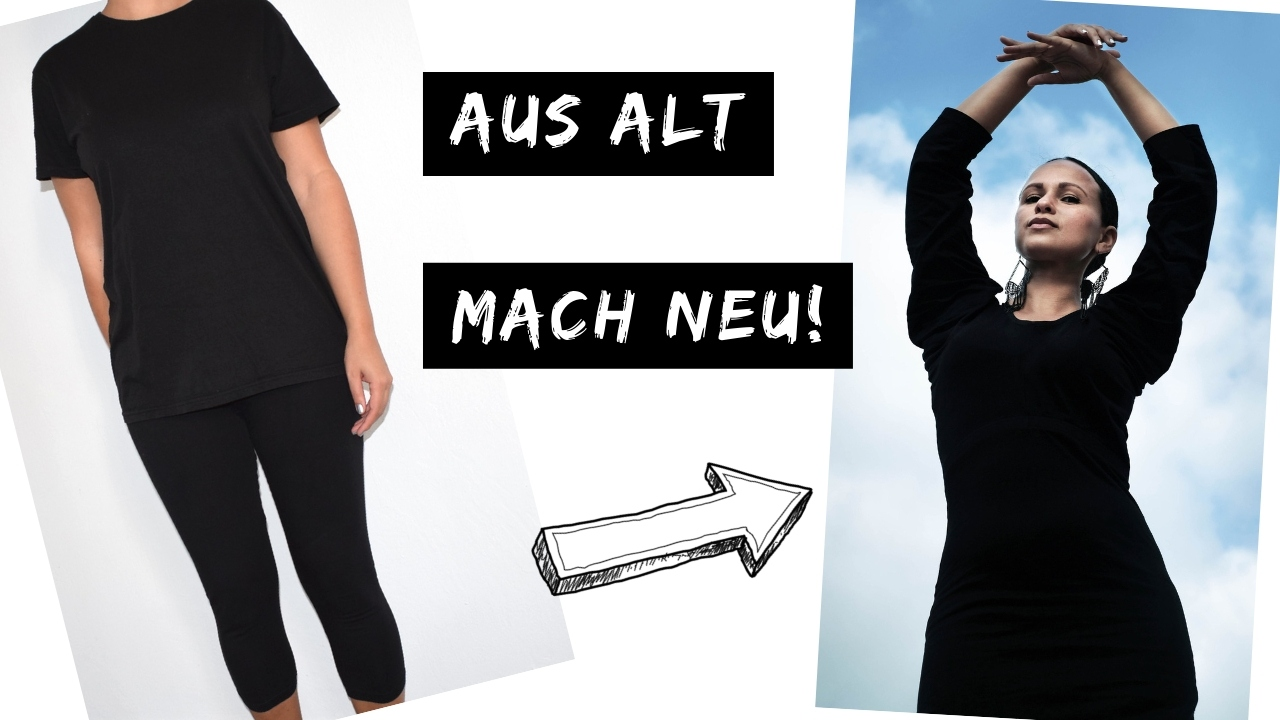 Upcycling Kleid DIY Refashion Idee nähen Nähidee aus alt mach neu Leggins T-Shirt Thrift Flip 4