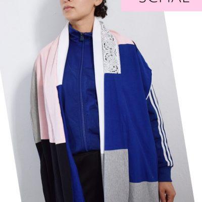 XXL Schal nähen Patchwork Jerseyschal Hoodie Jersey Stoffreste Nähidee DIY MODE für Erwachsene Frauen Urban modern minimalistisch 2