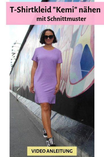 T-Shirtkleid Shirtkleid Kleid Jerseykleid nähen Schnittmuster DIY MODE Video Anleitung Tutorial Kemi