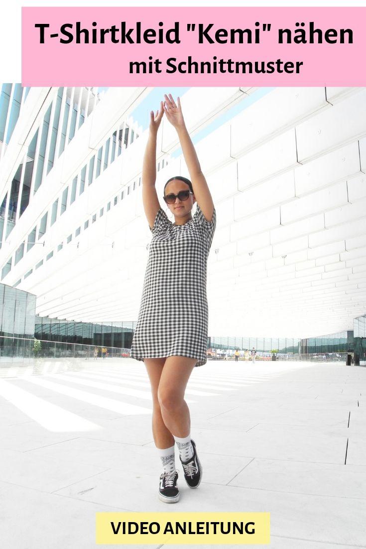 T-Shirtkleid nähen Schnittmuster Minikleid Shirtkleid Kleid Jerseykleid DIY MODE Video Anleitung Tutorial Kemi.jpg