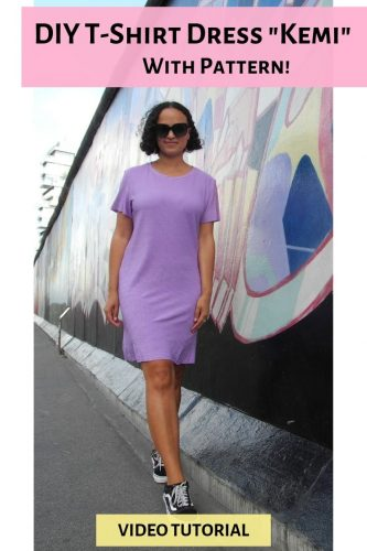 DIY How to sew a T-shirt dress sewing shirtdress minidress jersey basic video tutorial instructions pattern diy mode kemi