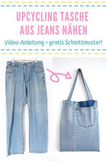Einkaufstasche nähen gratis Schnittmuster kostenlos Tasche Shopper Betuel Jutebeutel Upcycling Idee Nähidee aus Jeans Delali DIY MODE