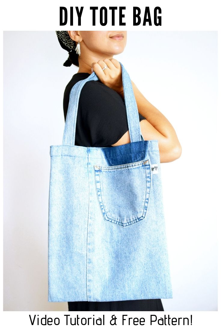 Free Tote Bag Pattern with video tutorial sewing upcycling idea bag from jeans shopping bag 1