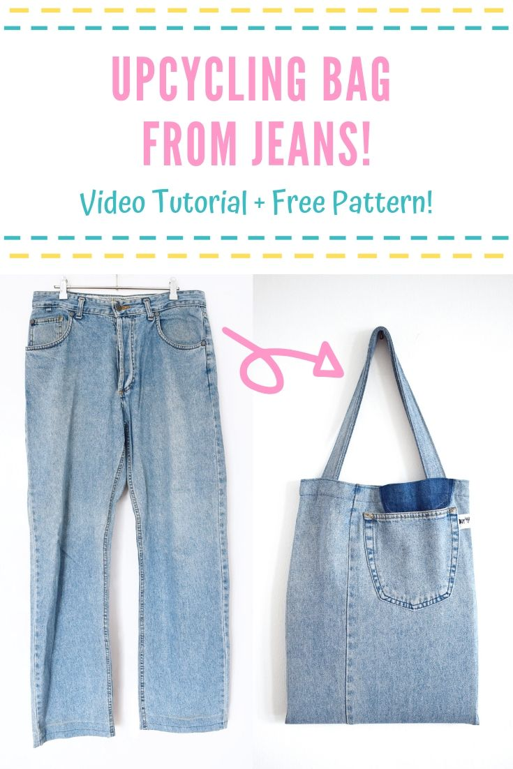 Free Tote Bag Pattern with video tutorial sewing upcycling idea bag from jeans shopping bag 2