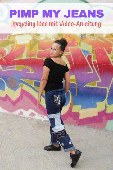 Upcycling Jeans Idee Anleitung nähen Refashion Pimpen Nähidee Nachhaltigkeit aus alt mach neu Hose Kleidung 3