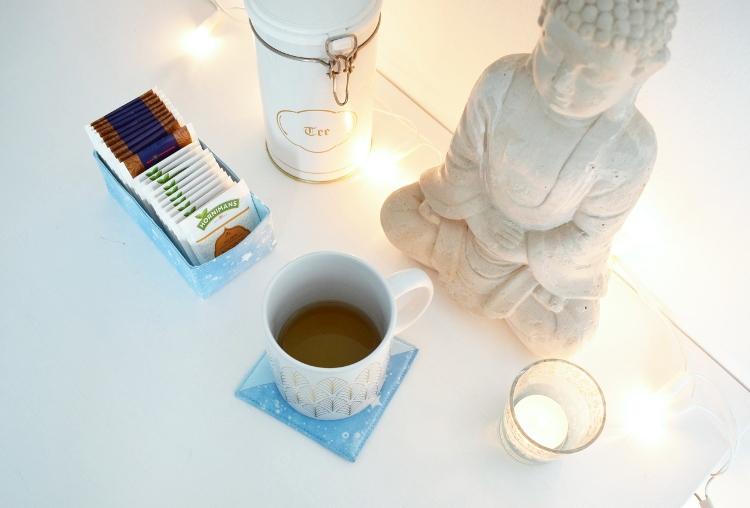 Tea Time Kleines Geschenk nähen Untersetzer eckiges Utensilo