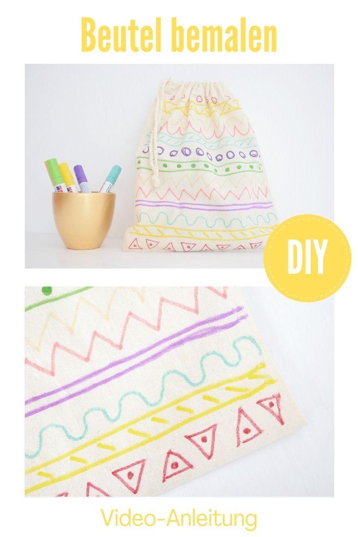 DIY Idee Textilstifte Beutel bemalen