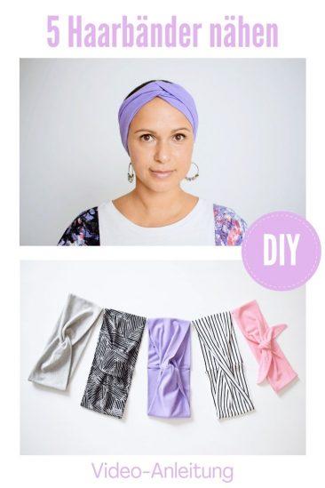 Haarband nähen Jersey Video Anleitung Stirnband Turnbanhaarband Bandeauhaarband Knotenhaarband DIY MODE 1