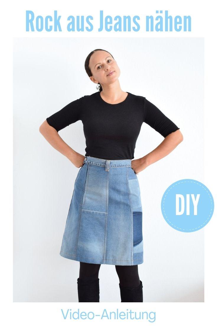 Upcycling Idee Rock aus Jeans nähen
